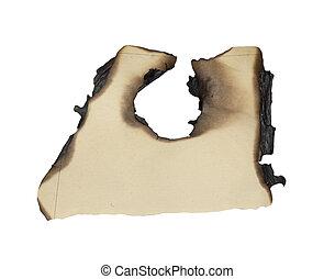 quemado, bordes, papel, aislado, blanco, plano de fondo