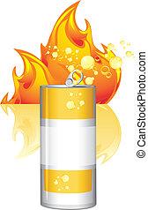 quemadura, energía, bebida