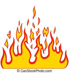 quemadura, llama, fuego, vector, plano de fondo