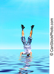 Crazy man stand upside down with head under water
