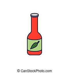 quentes, ícone, molho, isolado, garrafa