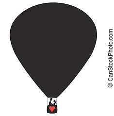 quentes, amantes, balloon, ar