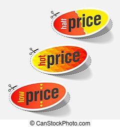 quentes, baixo, etiquetas, preço, metade