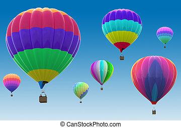 quentes, balões, coloridos, ar