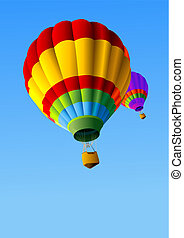 quentes, balões, fundo, ar