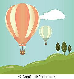 quentes, balões, paisagem, ar