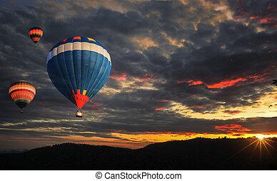 quentes, balloon, coloridos, ar