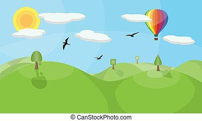 quentes, balloon, paisagem, ar