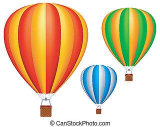quentes, balloons., ar