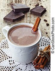 quentes, bebida,  chocolate