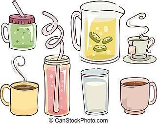 quentes, bebida fria, ilustração