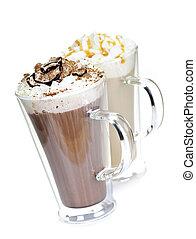 quentes, bebidas, café, chocolate