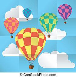 quentes, céu, balões, vetorial, ar