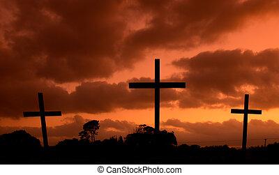 quentes, céu, cruzes