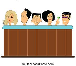 quentes, cheio, banheira, pessoas