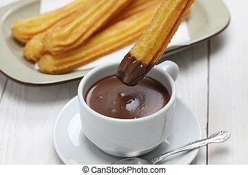 quentes, churros, chocolate