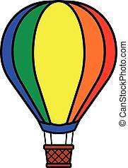 quentes, coloridos, balloon, ar