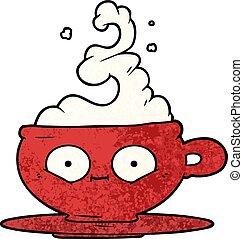 quentes, copo, café, caricatura