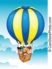 quentes, crianças, balloon, ar