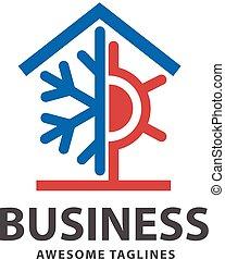 quentes, e, gelado, casa, logotipo, conceito