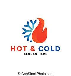 quentes, e, gelado, logotipo, ícone, desenho, modelo, vetorial