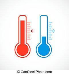 quentes, e, tempo frio, termômetro, ícone
