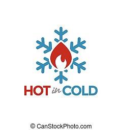 quentes, em, gelado, logotipo, projeto gráfico, modelo, vetorial, ilustração