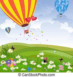quentes, feliz, balloon, ar