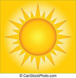 quentes, fundo, verão, sol
