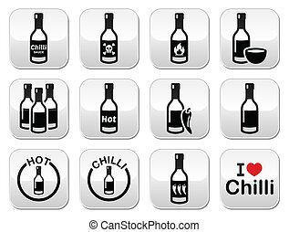 quentes, garrafa, alvo, pimentão, molho, pimentões
