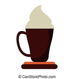 quentes, latte, café, caricatura, copo
