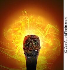 quentes, música, microfone, queimadura
