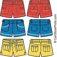 quentes, meninas, fantasia, shorts