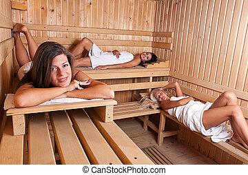 quentes, mulheres, três, relaxante, sauna