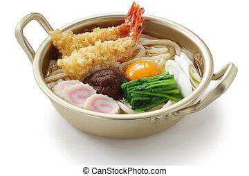 quentes, noodles, japoneses, pote