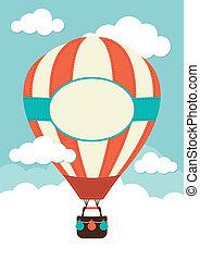 quentes, nuvens, balloon, ar