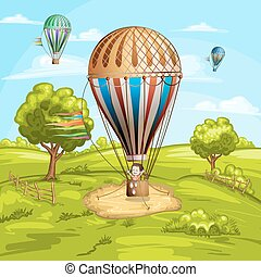 quentes, paisagem, balões, ar