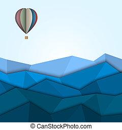 quentes, papel, montanhas, balloon, ar