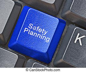 quentes, planificação, segurança, tecla