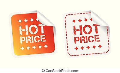 quentes, preço, stickers., vetorial, ilustração, branco, experiência.