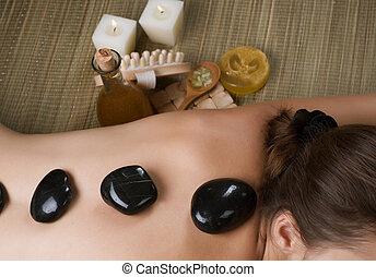 quentes, spa., pedra, massagem