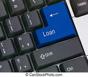 quentes, tecla, para, empréstimo