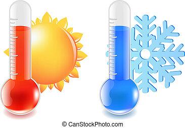quentes, termômetro, gelado, temperatura