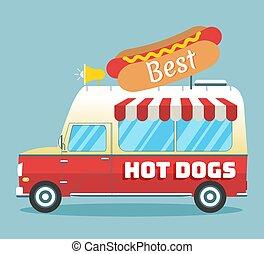 quentes, vetorial, caminhão, cachorros