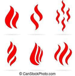 quentes, vetorial, fumaça, ícone