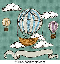 quentes, vindima, ar, balões