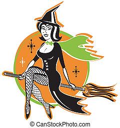 quentes, vindima, feiticeira, dia das bruxas, excitado