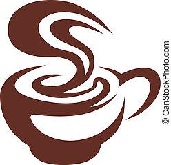 quentes, xícara café, com, rodar, vapor