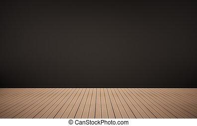 quercia, pavimento legno, con, nero, parete