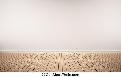 quercia, pavimento legno, con, parete bianca